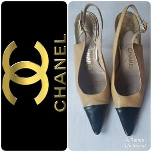 Authentic Chanel Slingback Pointed Heels Size 38